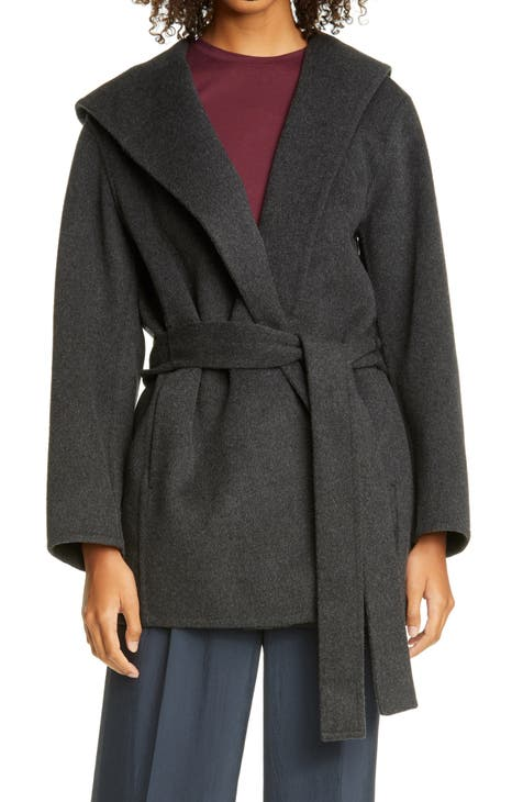 빈스 후드 울 블랜드 코트 Vince Hooded Wool Blend Coat,heather charcoal