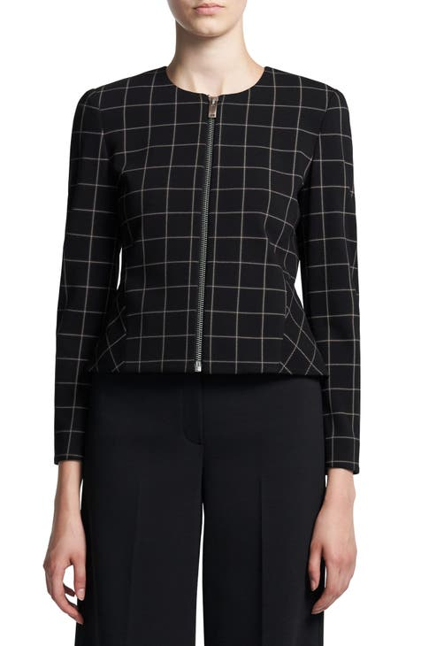 띠어리 자켓 Theory Windowpane Plaid Peplum Jacket,black multi