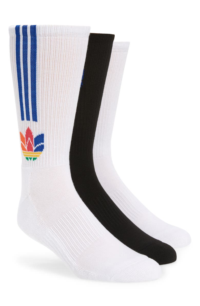 ADIDAS Originals 3D Trefoil Assorted 3-Pack Socks, Main, color, 100