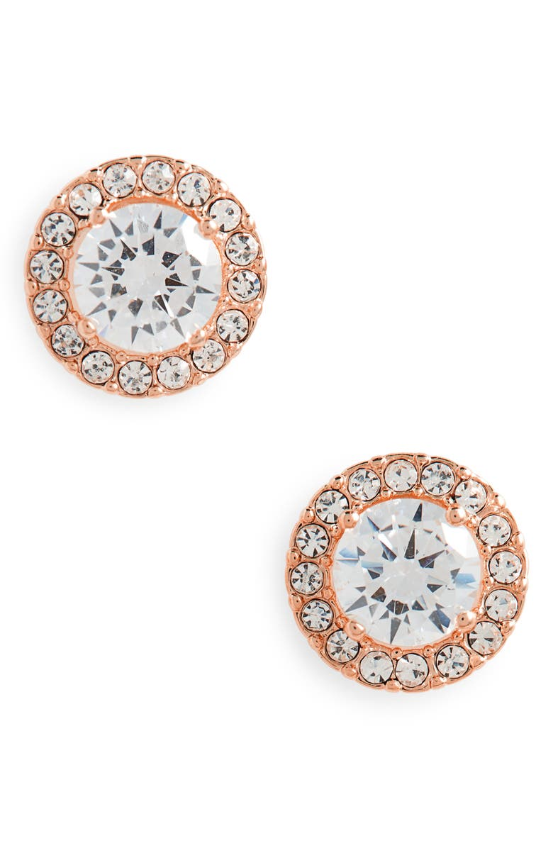 NORDSTROM Halo Cubic Zirconia Stud Earrings, Main, color, CLEAR- ROSE GOLD