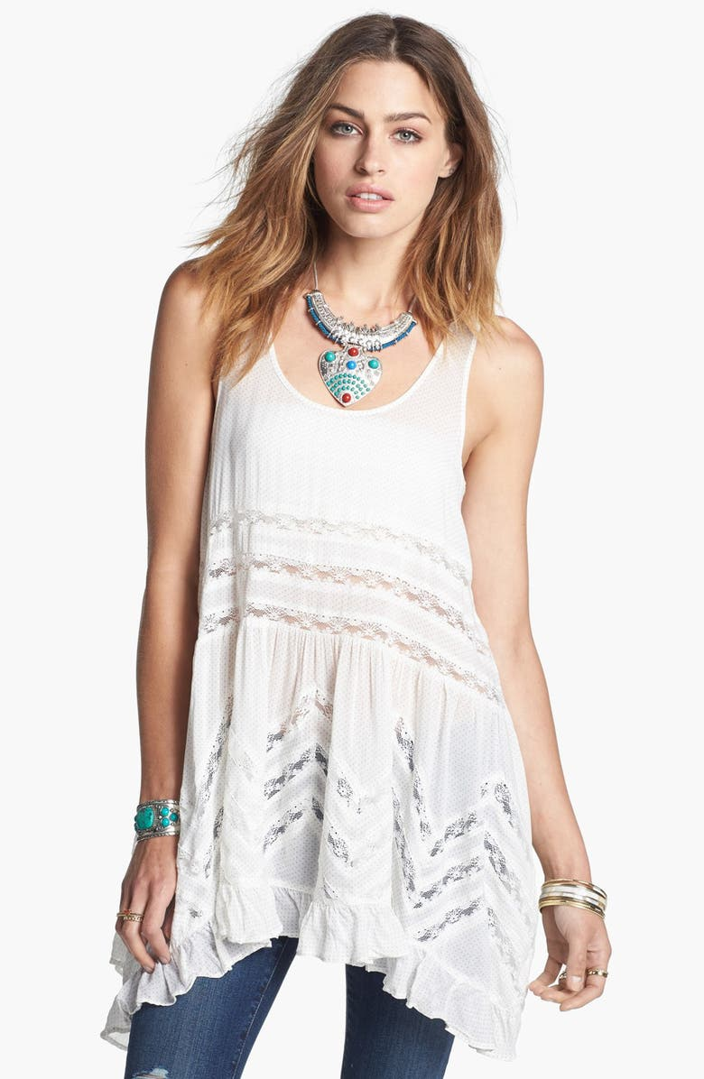FREE PEOPLE Swingy Lace Inset Tunic, Main, color, 000