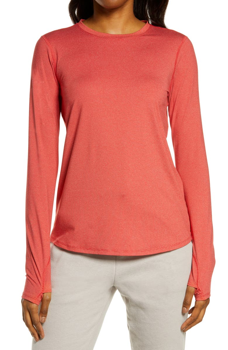 ZELLA Gen Long Sleeve Performance T-Shirt, Main, color, RED COUTURE