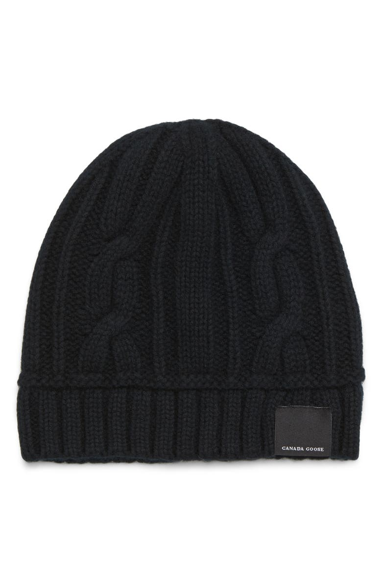 CANADA GOOSE Cabled Merino Wool Toque Beanie, Main, color, 001