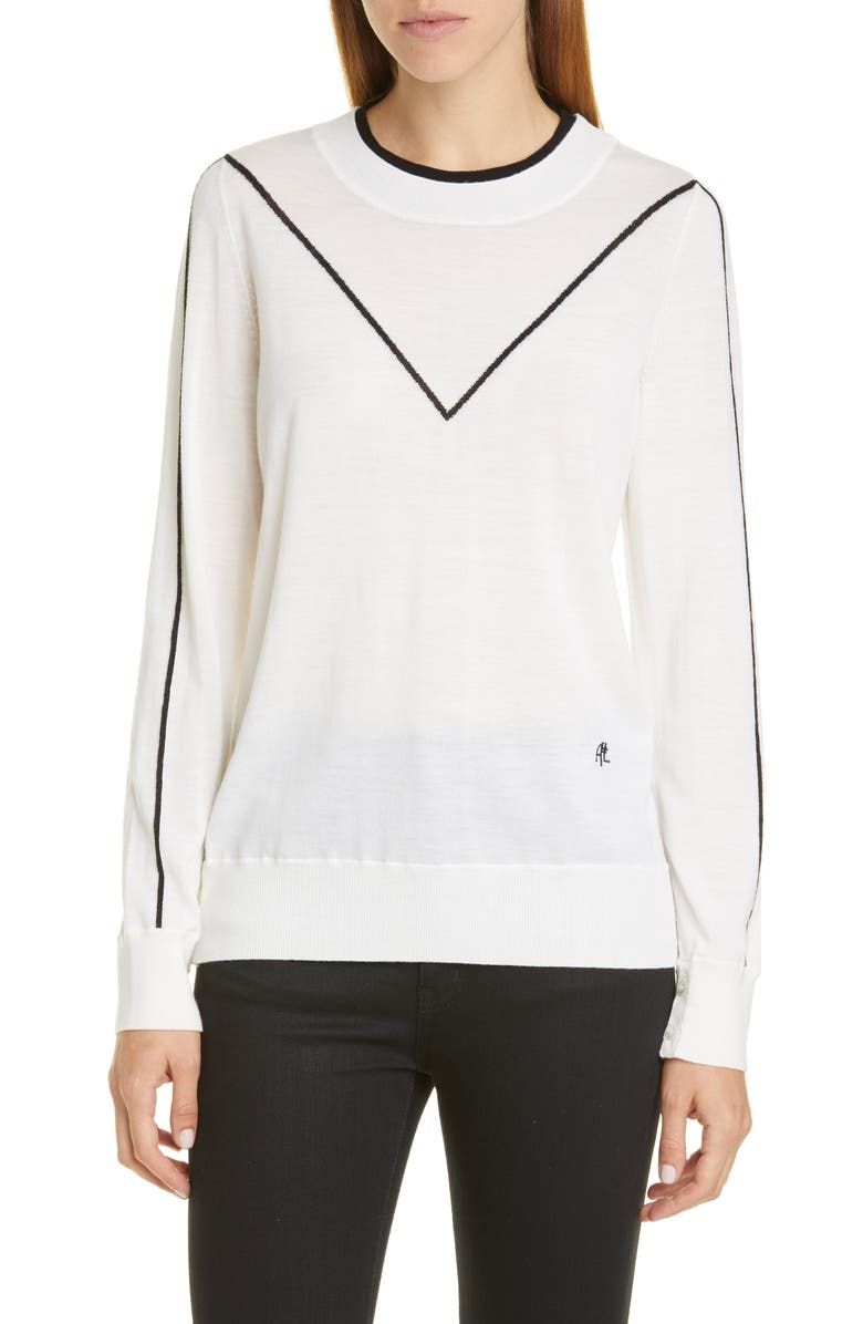 ADAM LIPPES Intarsia Merino Wool Sweater, Main, color, 900