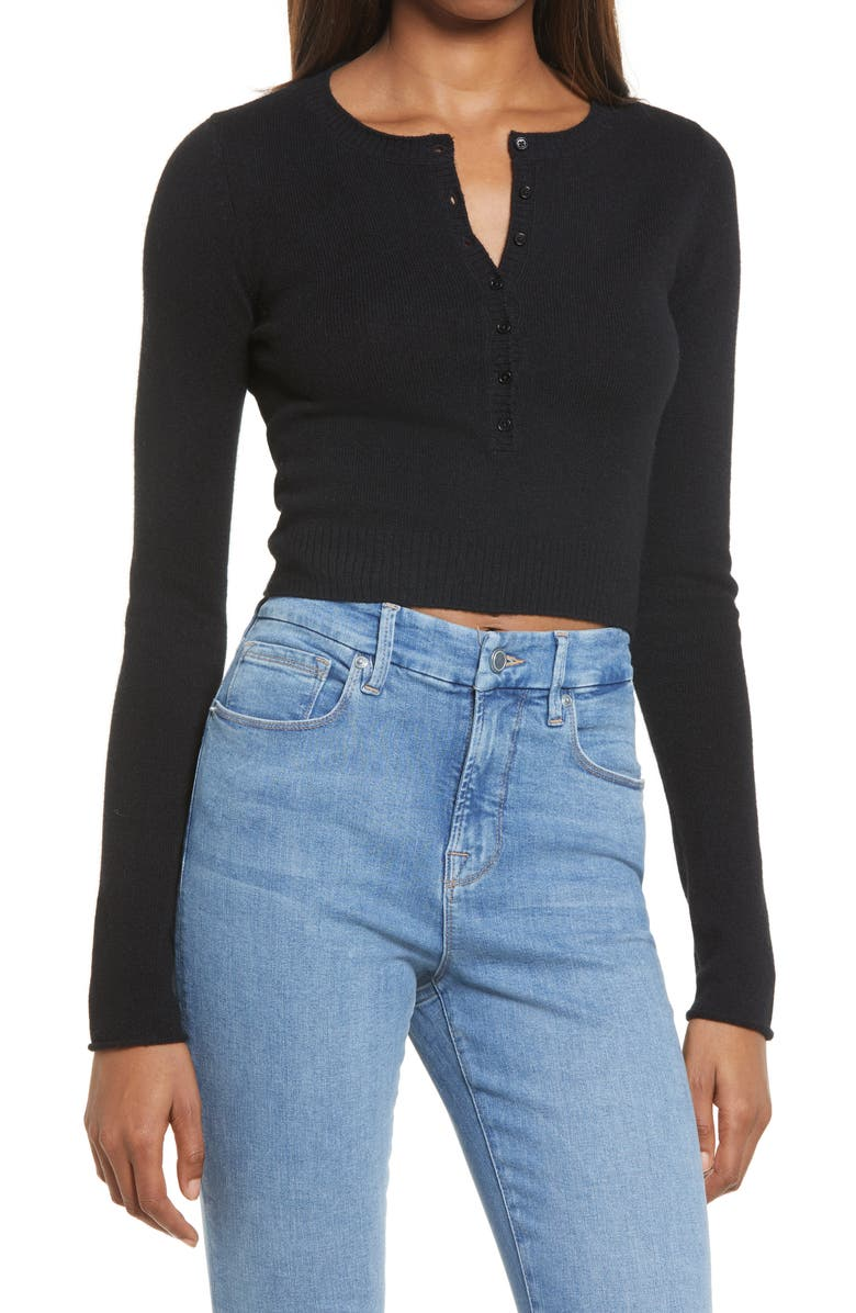 REFORMATION Cashmere Henley Top, Main, color, 001