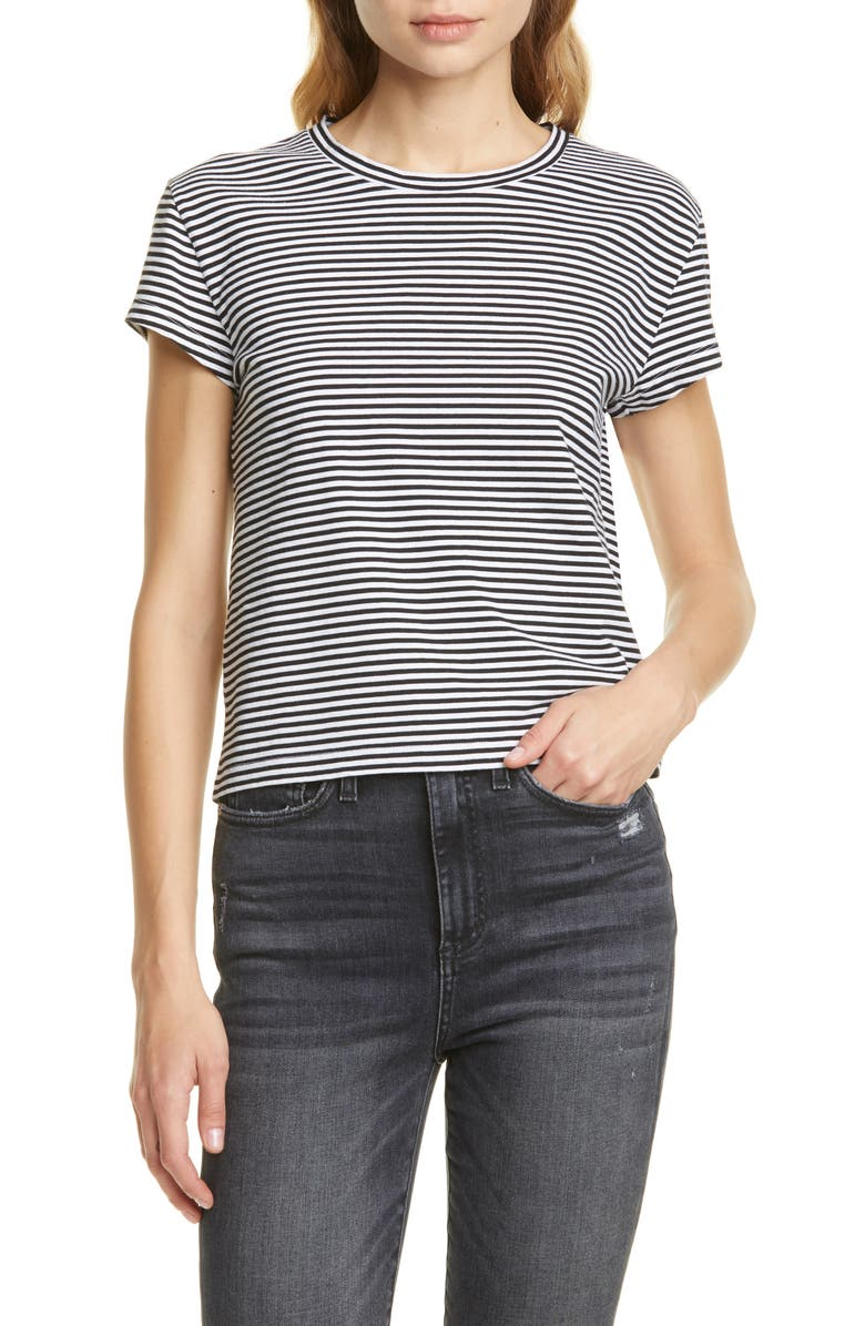 LA LIGNE Stripe Shrunken Tee, Main, color, 108