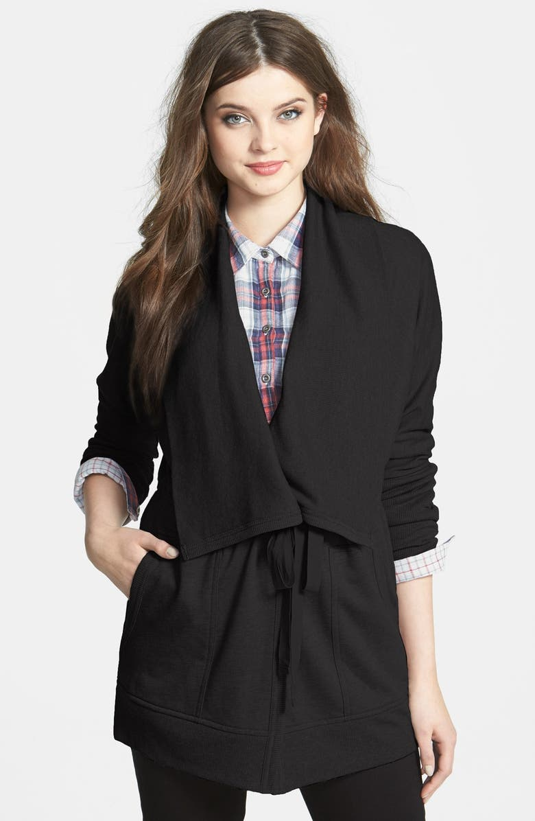 CASLON<SUP>®</SUP> Oversize Collar French Terry Jacket, Main, color, 001