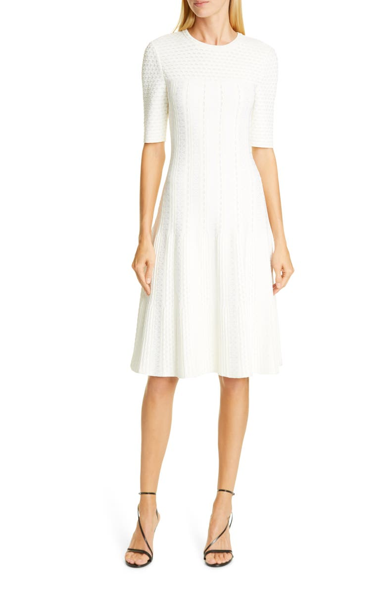 ST. JOHN COLLECTION Engineered Lace Jacquard Sweater Dress, Main, color, 100