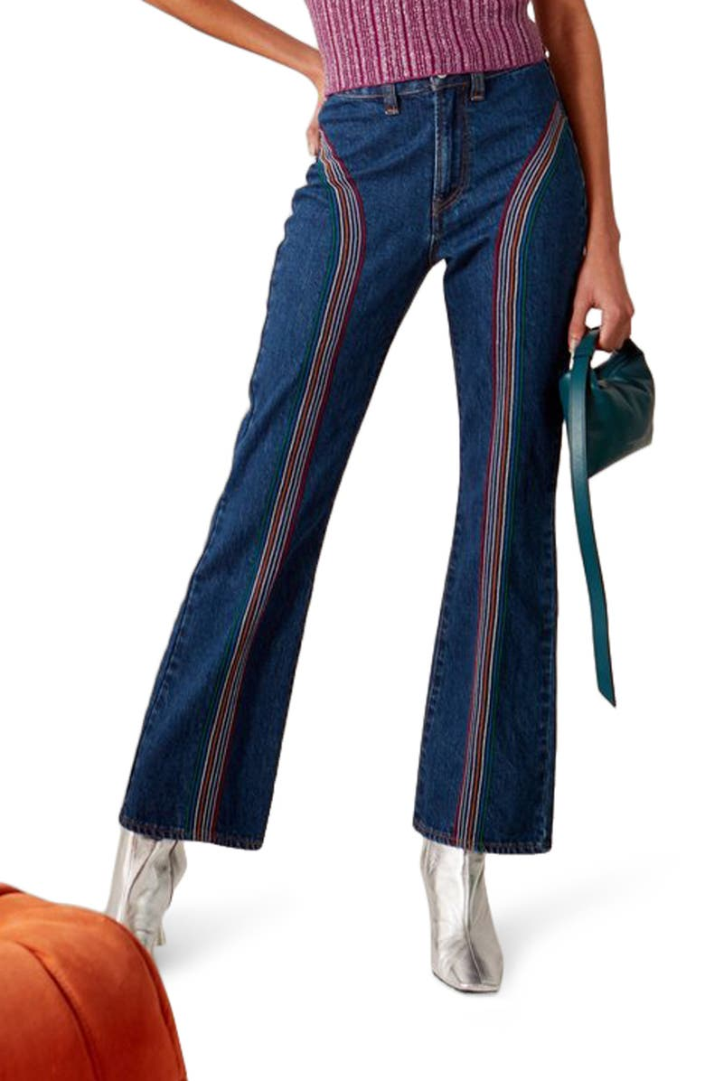 SIMON MILLER Embroidered Bell Bottom Jeans, Main, color, INDIGO WASH WITH EMBROIDERY