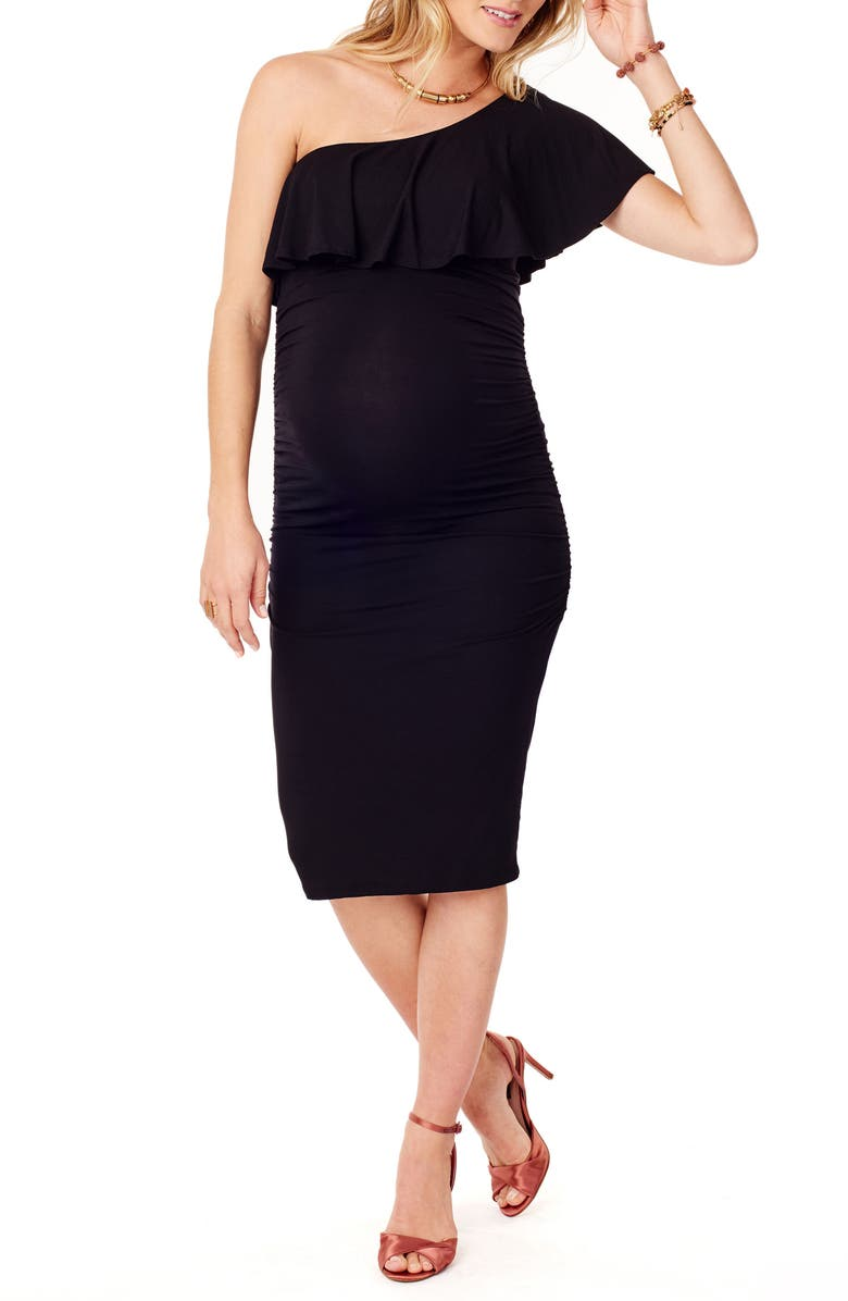 INGRID & ISABEL<SUP>®</SUP> Ruffle One-Shoulder Maternity Dress, Main, color, 006