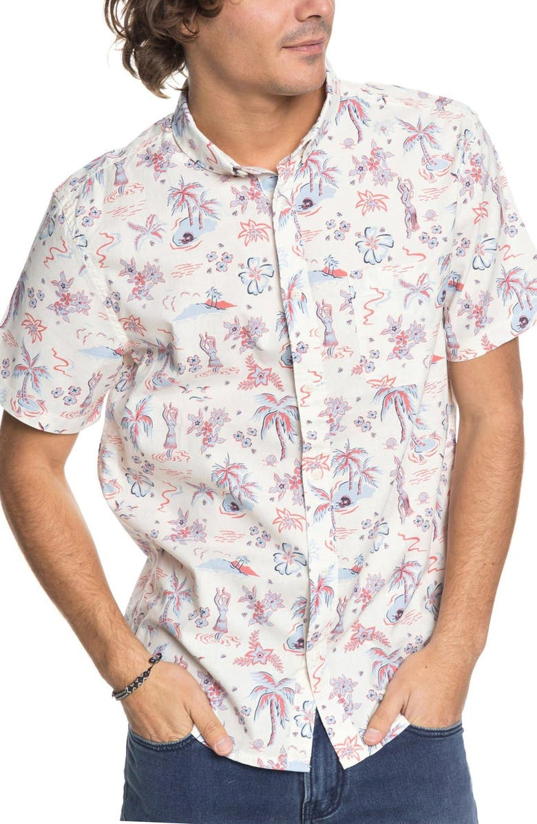 QUIKSILVER Black Hula Woven Shirt, Main, color, 900