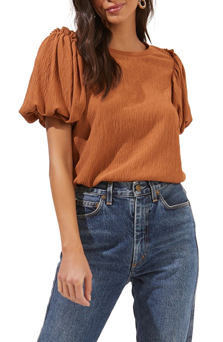ASTR THE LABEL Bubble Sleeve Crop Top, Main, color, CIDER