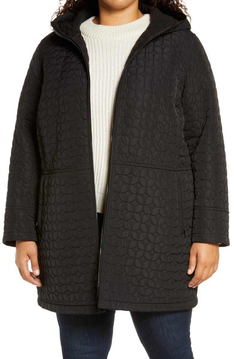 GALLERY Fleece Lined Quilted Hooded Jacket, Main, color, BLACK