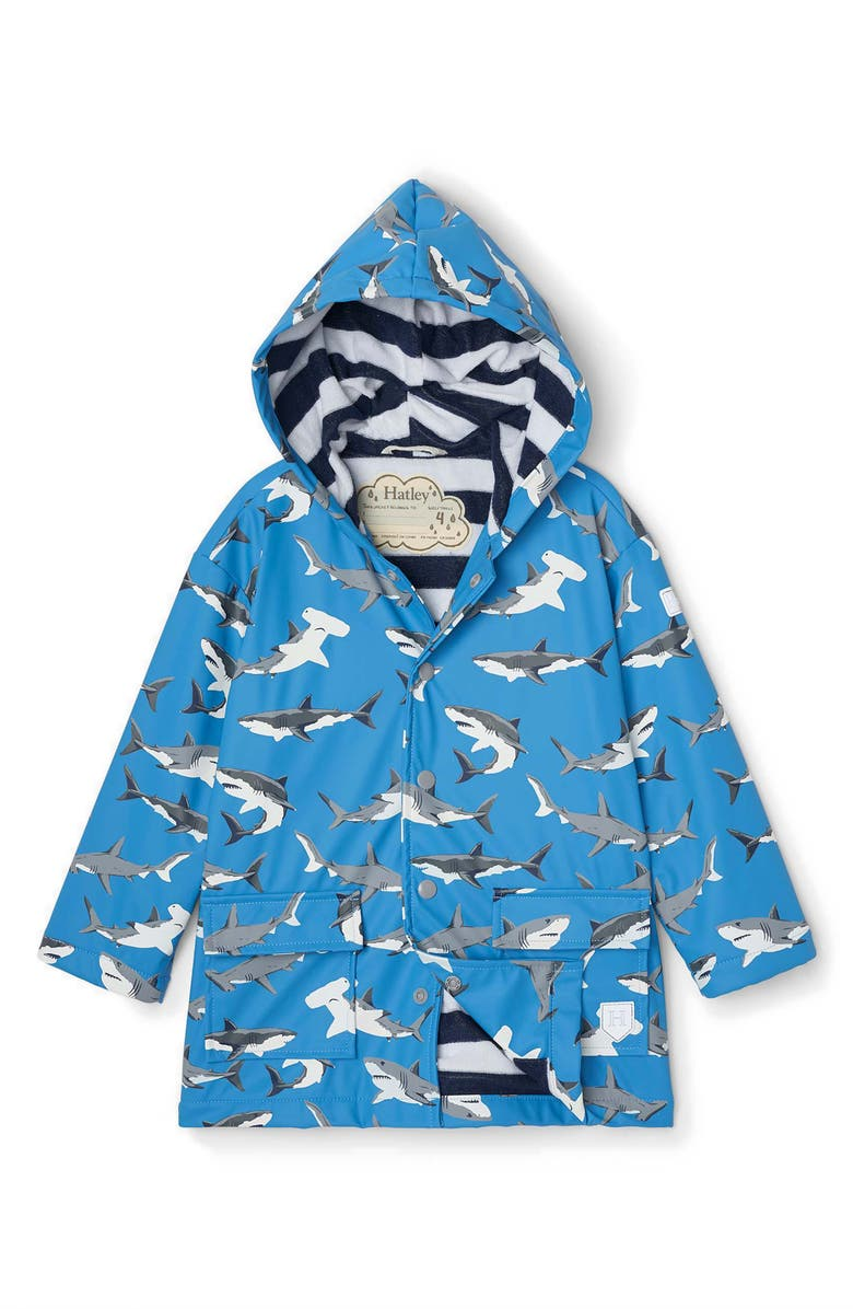HATLEY Kids' Deep Sea Sharks Color Changing Waterproof Hooded Raincoat, Main, color, Blue