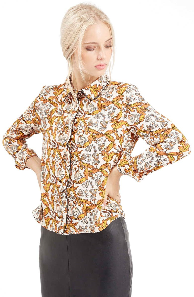 TOPSHOP Piped Floral Print Shirt, Main, color, CREAM MULTI