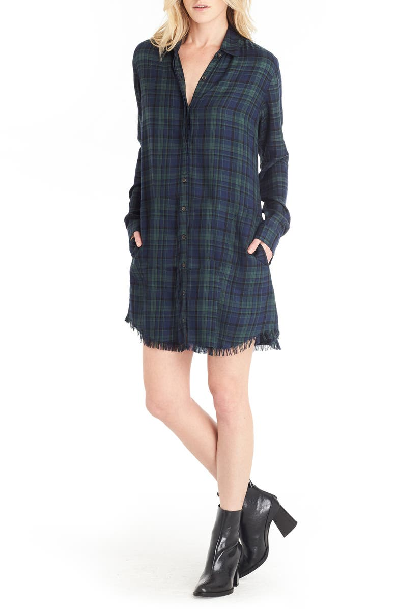 MICHAEL STARS Plaid Shirtdress, Main, color, NOCTURNAL/ FOREST