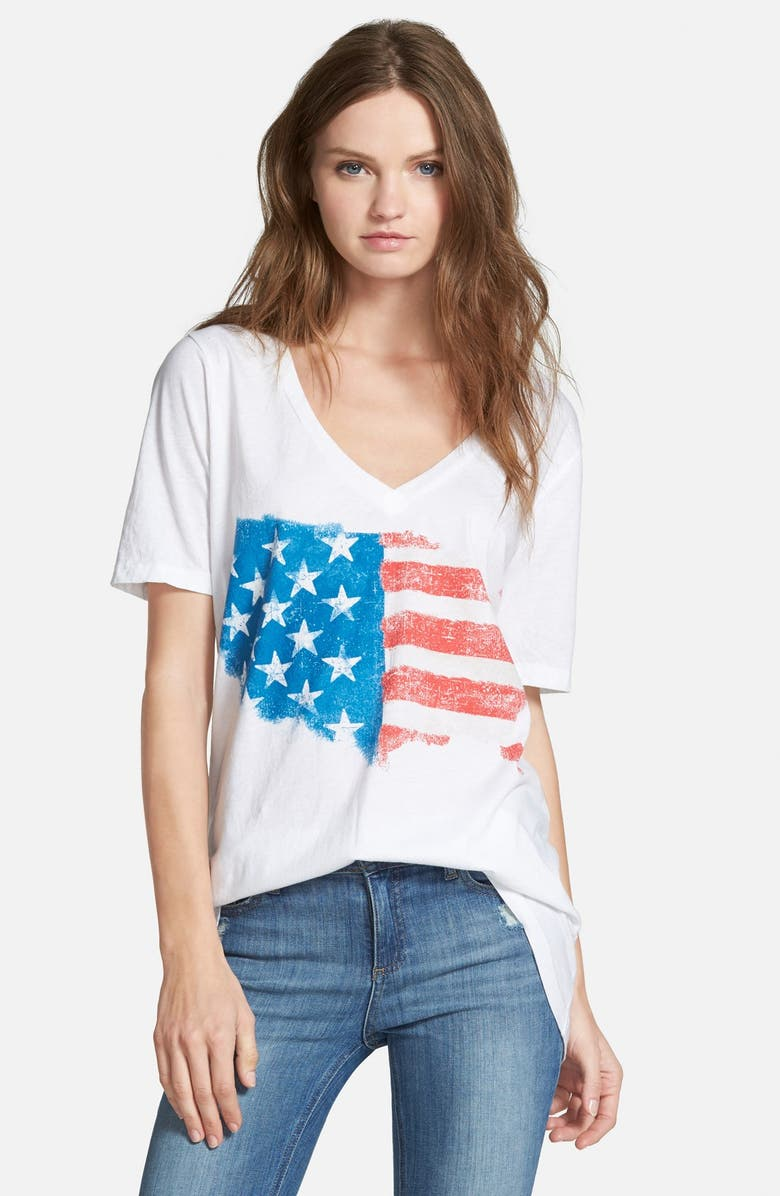 CHASER Painted Flag V-Neck Tee, Main, color, 100