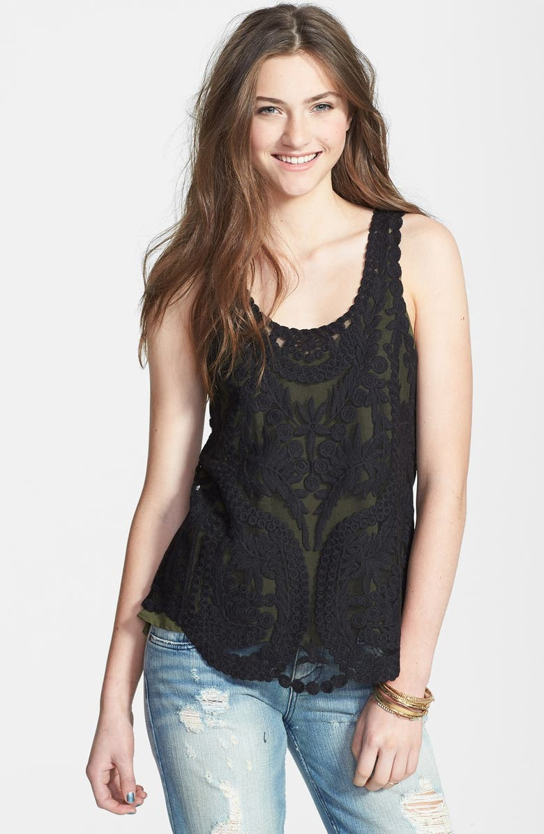 PAINTED THREADS Embroidered Mesh Tank, Main, color, 001