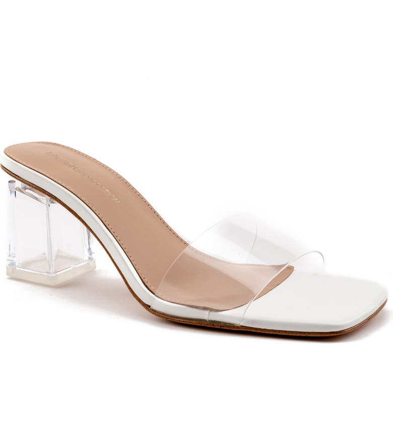 BCBGENERATION Luckee Block Heel Slide Sandal, Main, color, CLEAR LEATHER