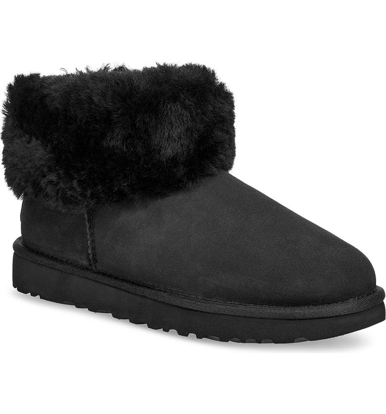 UGG<SUP>®</SUP> Classic Mini Fluff Genuine Shearling Bootie, Main, color, BLACK