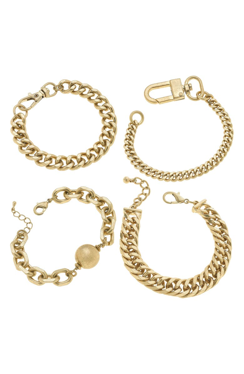CANVAS JEWELRY Set of Four Stacking Bracelets, Main, color, WORN GOLD