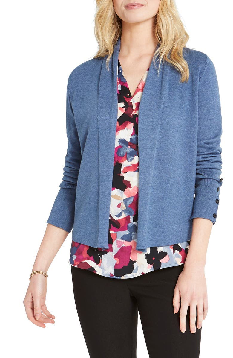 NIC+ZOE Book Club Open Cardigan, Main, color, BLUE WASH