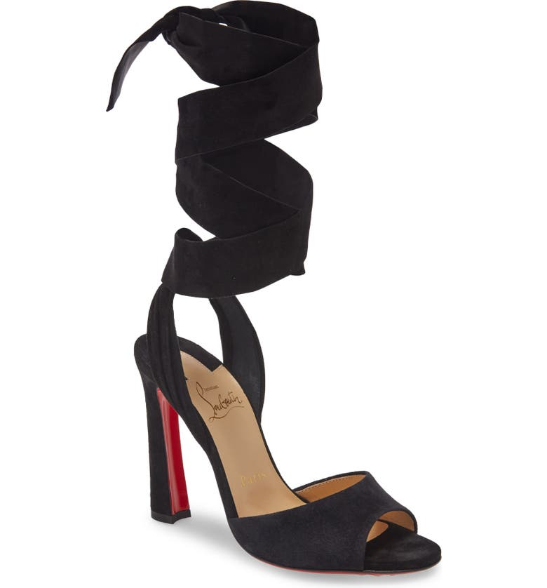 CHRISTIAN LOUBOUTIN Rose Amelie Ankle Wrap Sandal, Main, color, 001