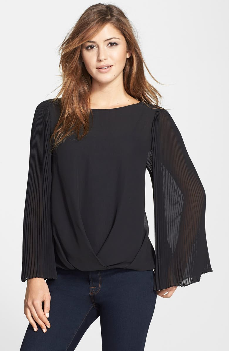 VINCE CAMUTO Pleat Sleeve Folded Front Blouse, Main, color, 006