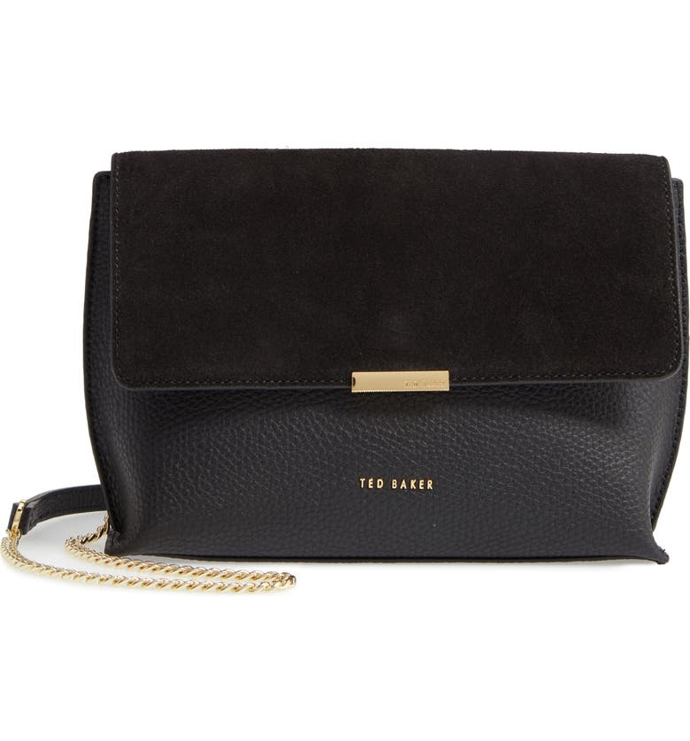 TED BAKER LONDON Lisa Bar Detail Suede & Leather Crossbody Bag, Main, color, 001