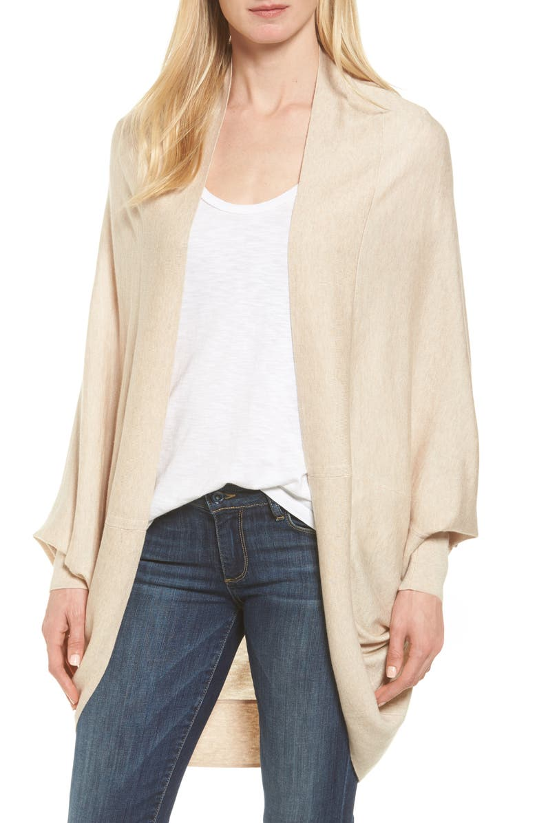 NORDSTROM Knit Cocoon Cardigan, Main, color, BEIGE OATMEAL HEATHER