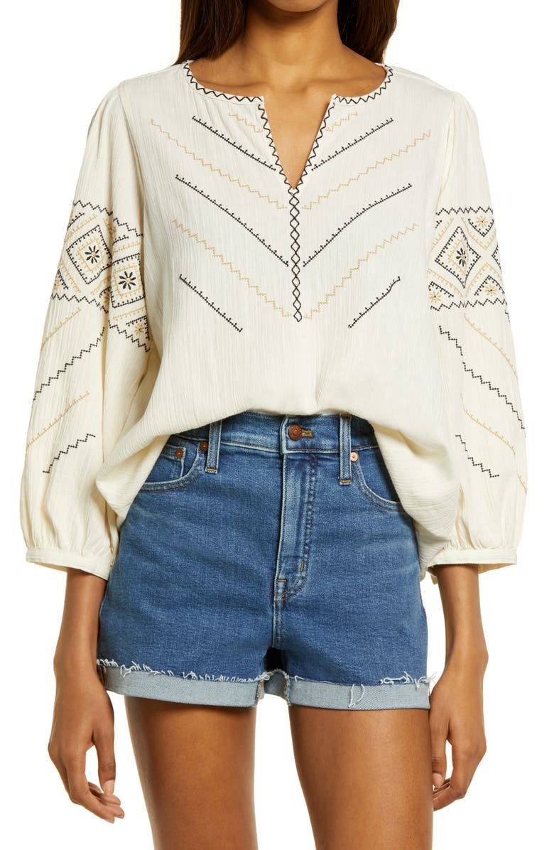 MADEWELL Embroidered Peasant Top, Main, color, ANTIQUE CREAM