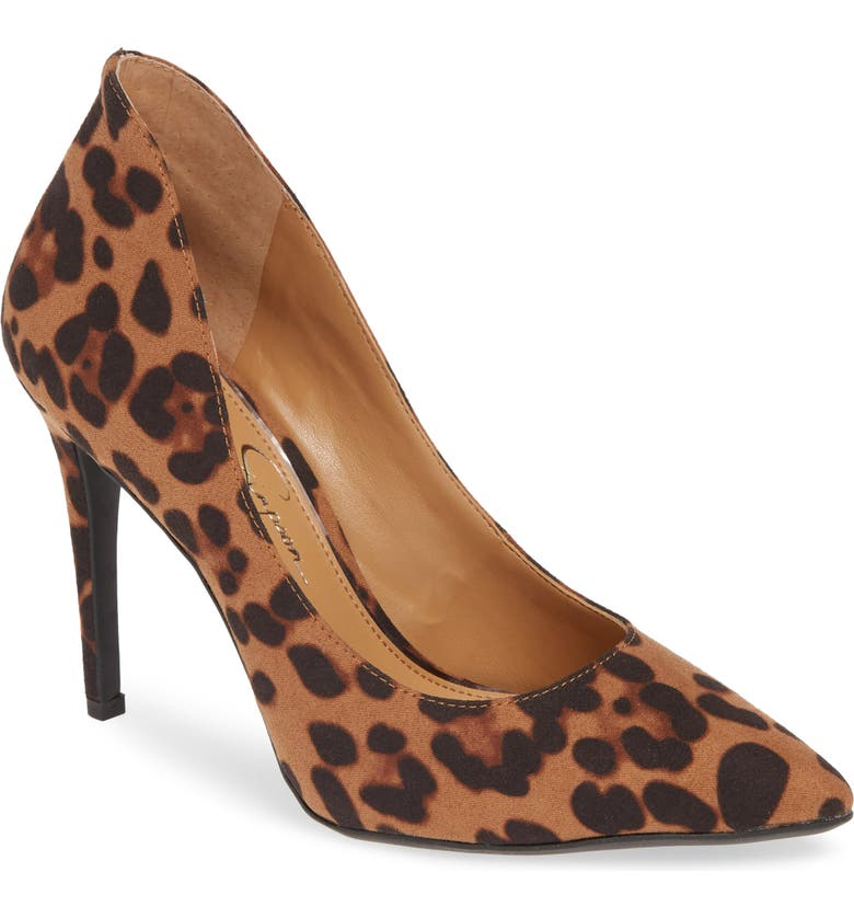JESSICA SIMPSON Parthenia Pointed Toe Pump, Main, color, NATURAL LEOPARD SUEDE