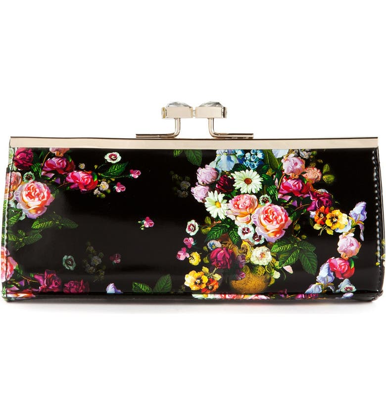 TED BAKER LONDON Floral Print Crystal Bow Clutch, Main, color, 001