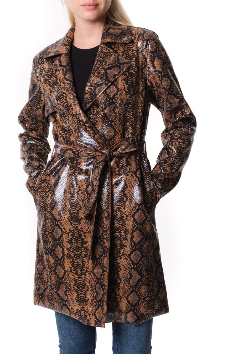 BLANKNYC Faux Snakeskin Trench Coat, Main, color, OPPOSITES ATTRACT