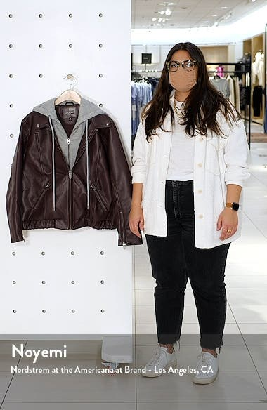 Faux Leather Jacket with Hooded Bib Insert, sales video thumbnail