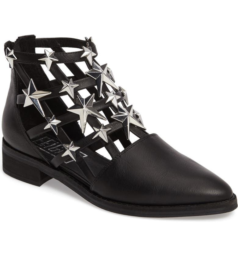 E8 BY MIISTA Nelly Cutout Bootie, Main, color, BLACK/ SILVER LEATHER