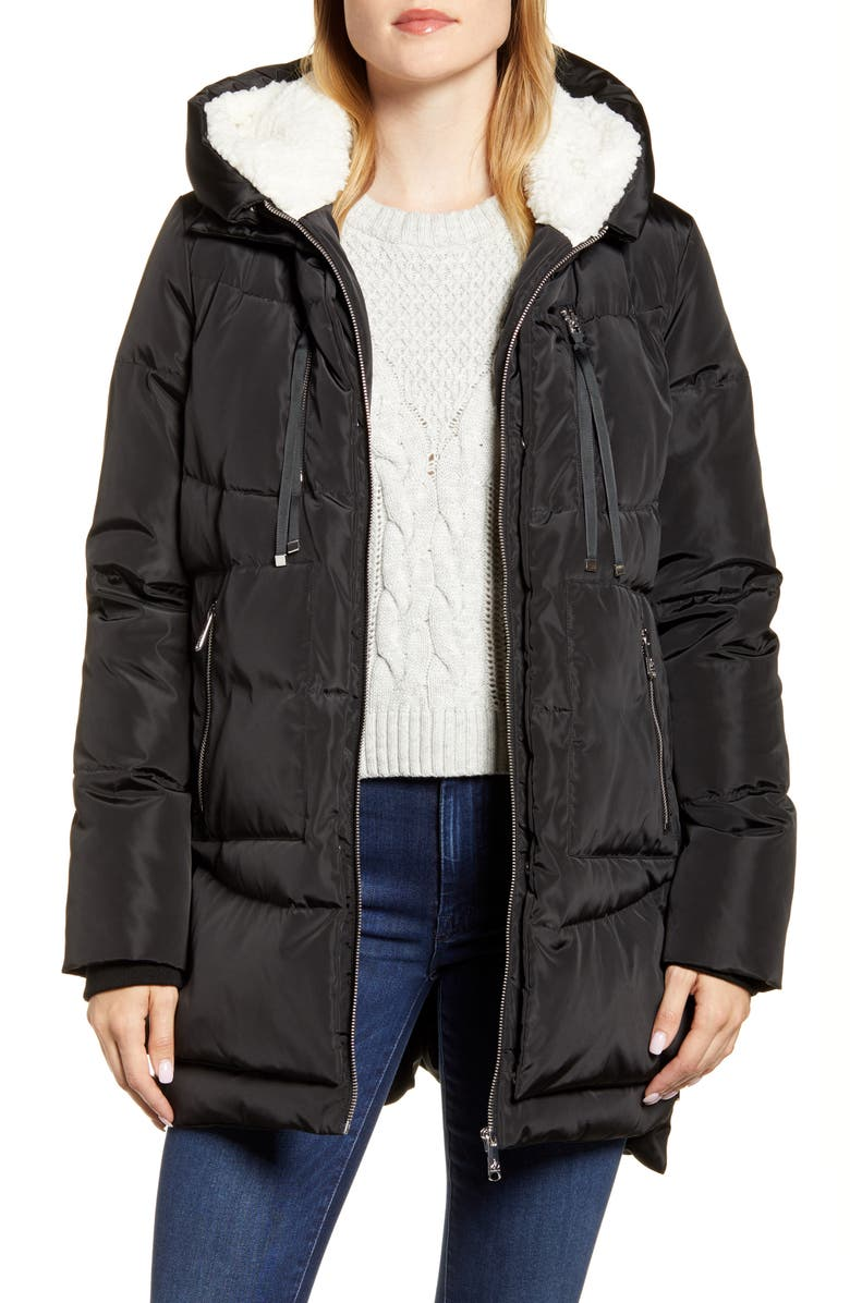 SAM EDELMAN Faux Shearling Lined Puffer Coat, Main, color, 001