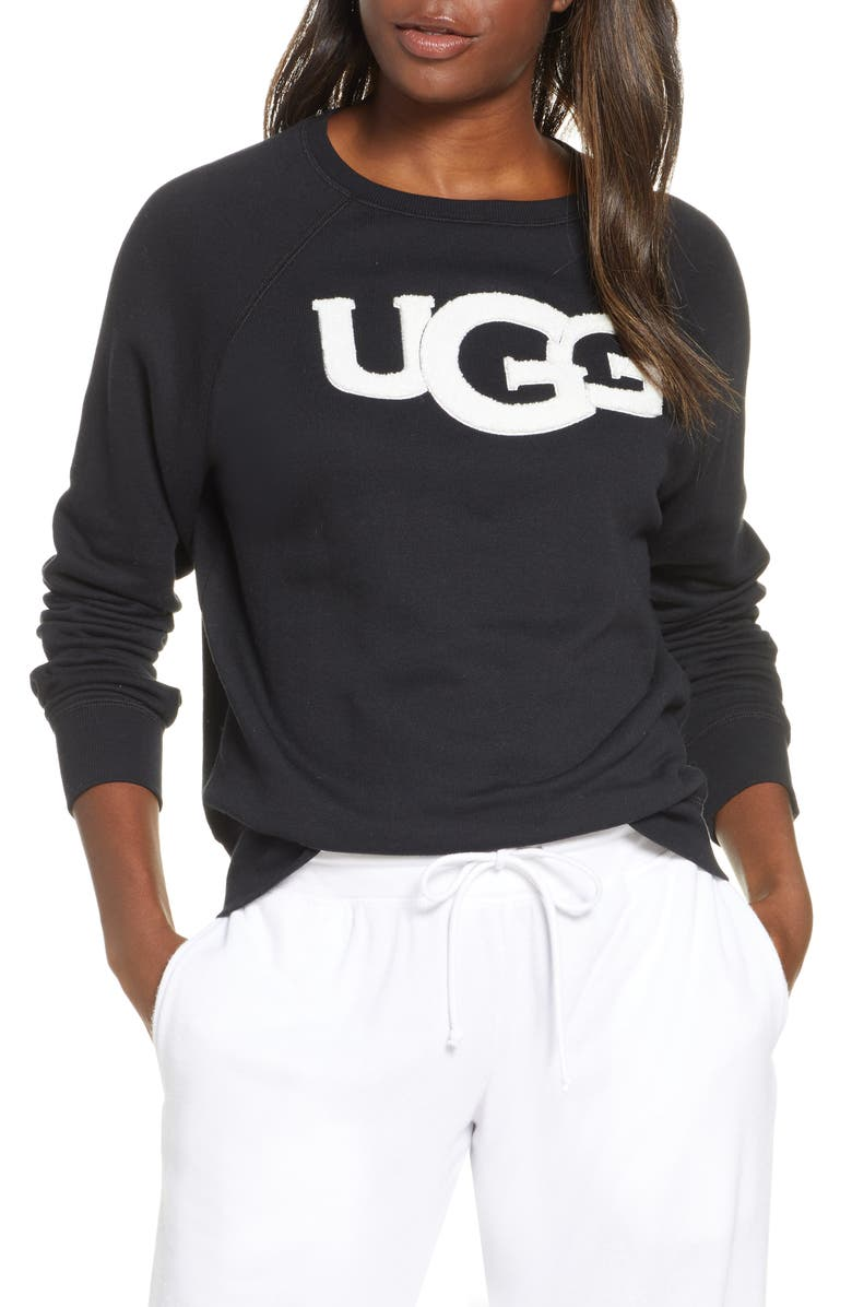 UGG<SUP>®</SUP> Fuzzy Logo Sweatshirt, Main, color, BLACK