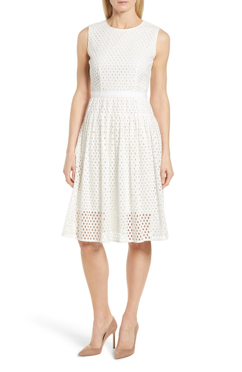 BOSS Dafalia Cotton Eyelet Dress, Main, color, 112