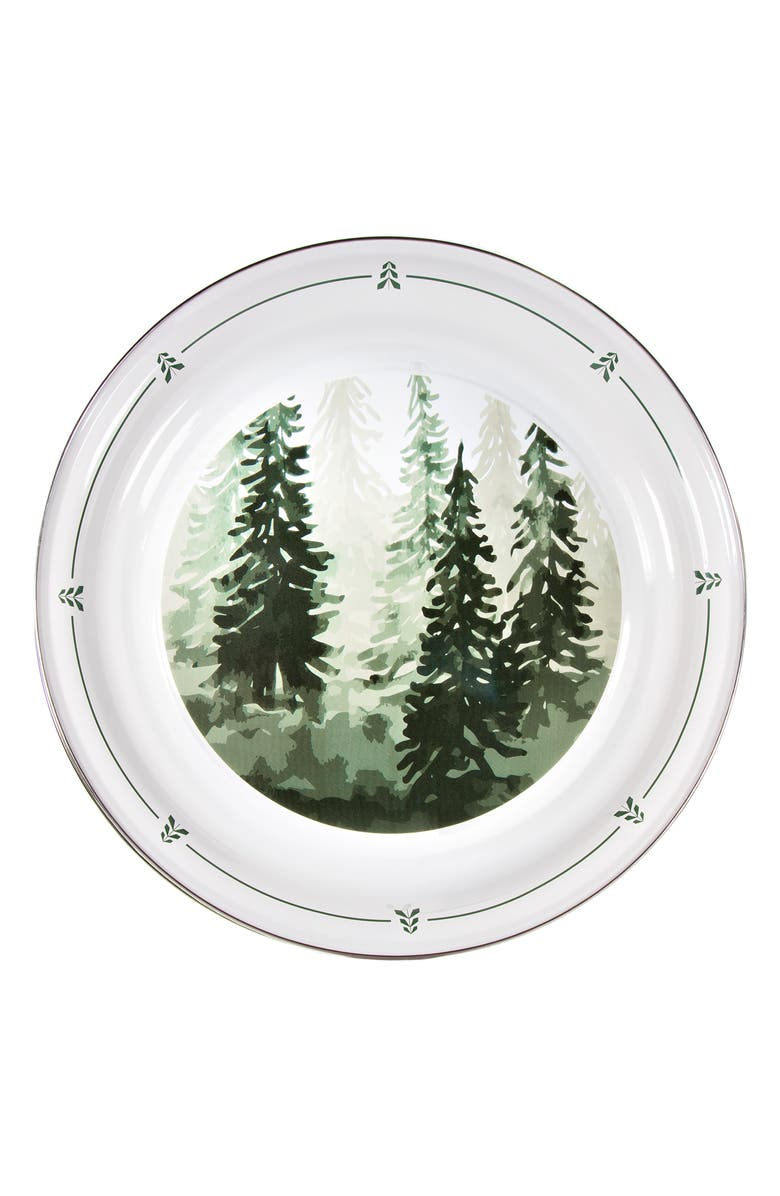 GOLDEN RABBIT Enamelware Forest Trees Large Enamel Serving Tray, Main, color, WHITE