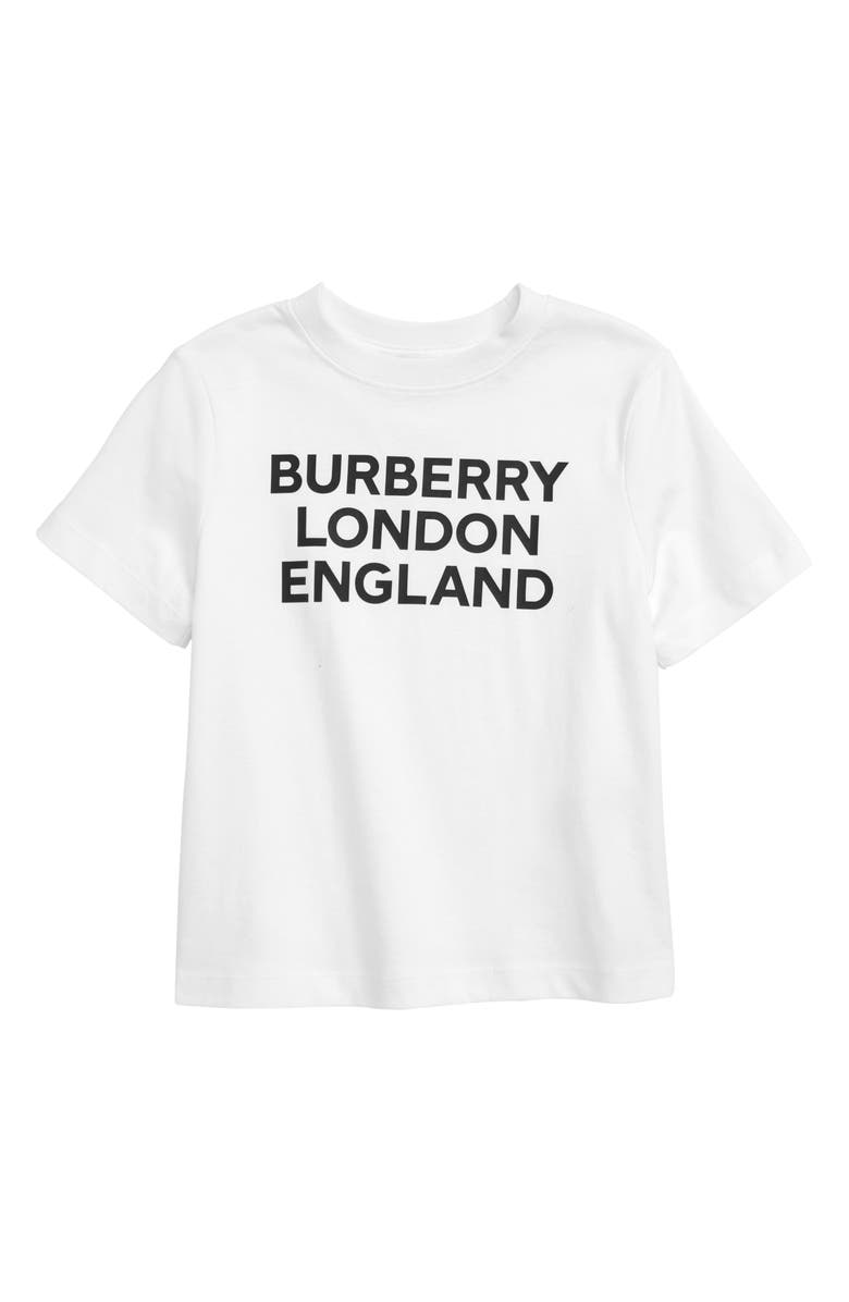 BURBERRY Logo Cotton Graphic Tee, Main, color, WHITE