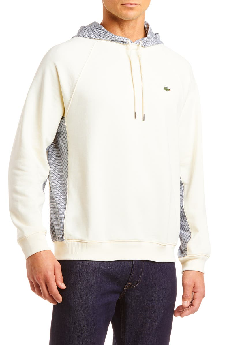 LACOSTE Mixed Media Pullover Hoodie, Main, color, 101