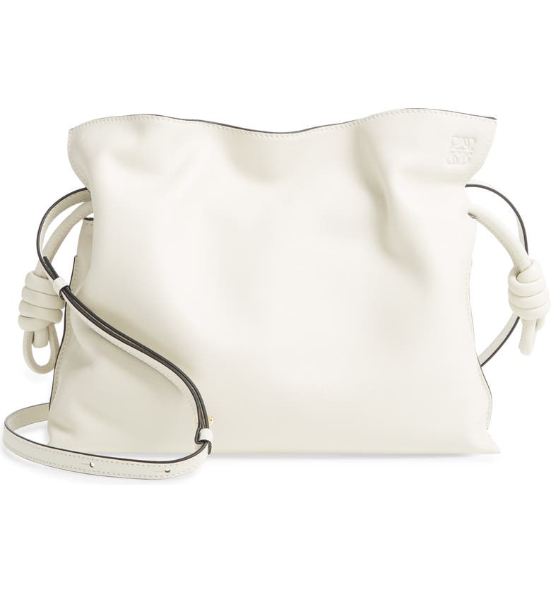 LOEWE Flamenco Knot Leather Clutch, Main, color, SOFT WHITE