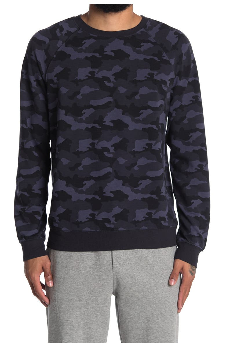 90 DEGREE BY REFLEX Terry Brushed Long Sleeve Sweatshirt, Main, color, P600 CAMO NAVY COMB
