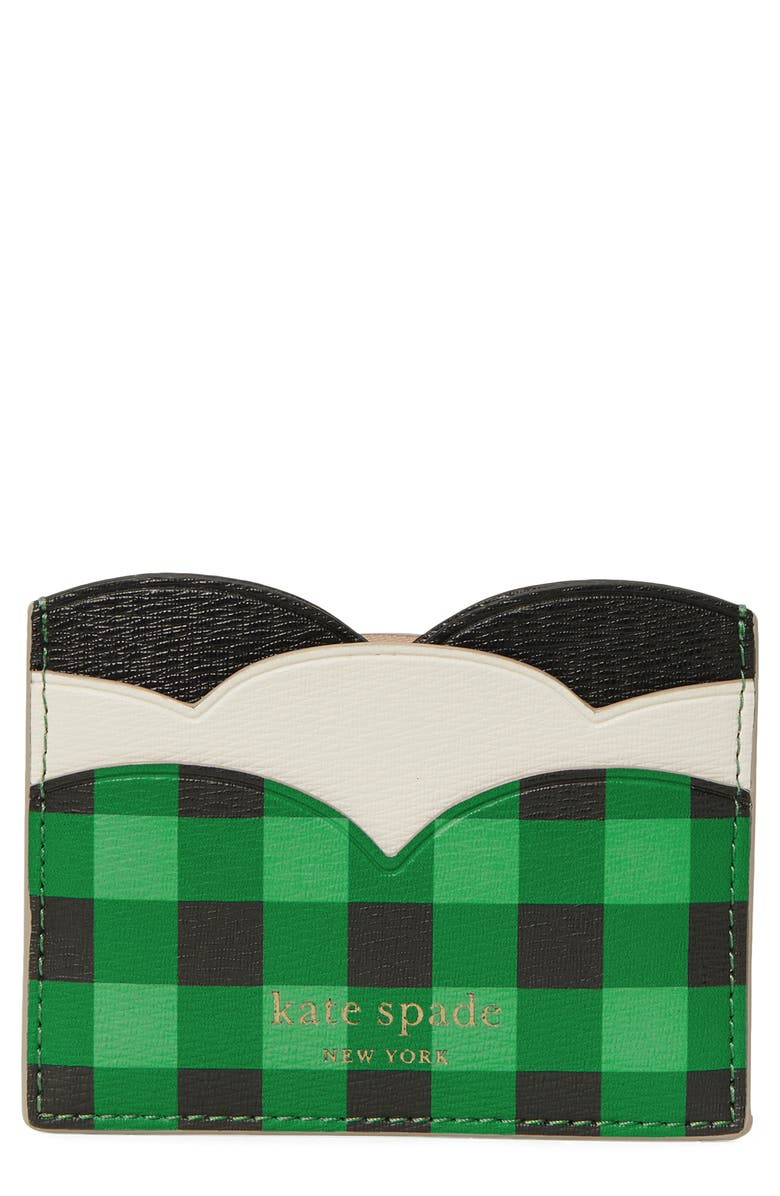 KATE SPADE NEW YORK frog leather card case, Main, color, GREEN MULTI