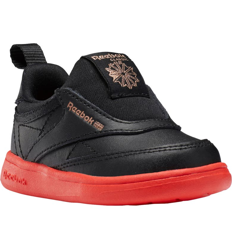 REEBOK Club C III Quilted Slip-On Sneaker, Main, color, BLACK/ DYNAMIC RED/ ROSE GOLD