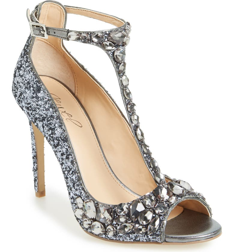 JEWEL BADGLEY MISCHKA Conroy Embellished T-Strap Pump, Main, color, SMOKE
