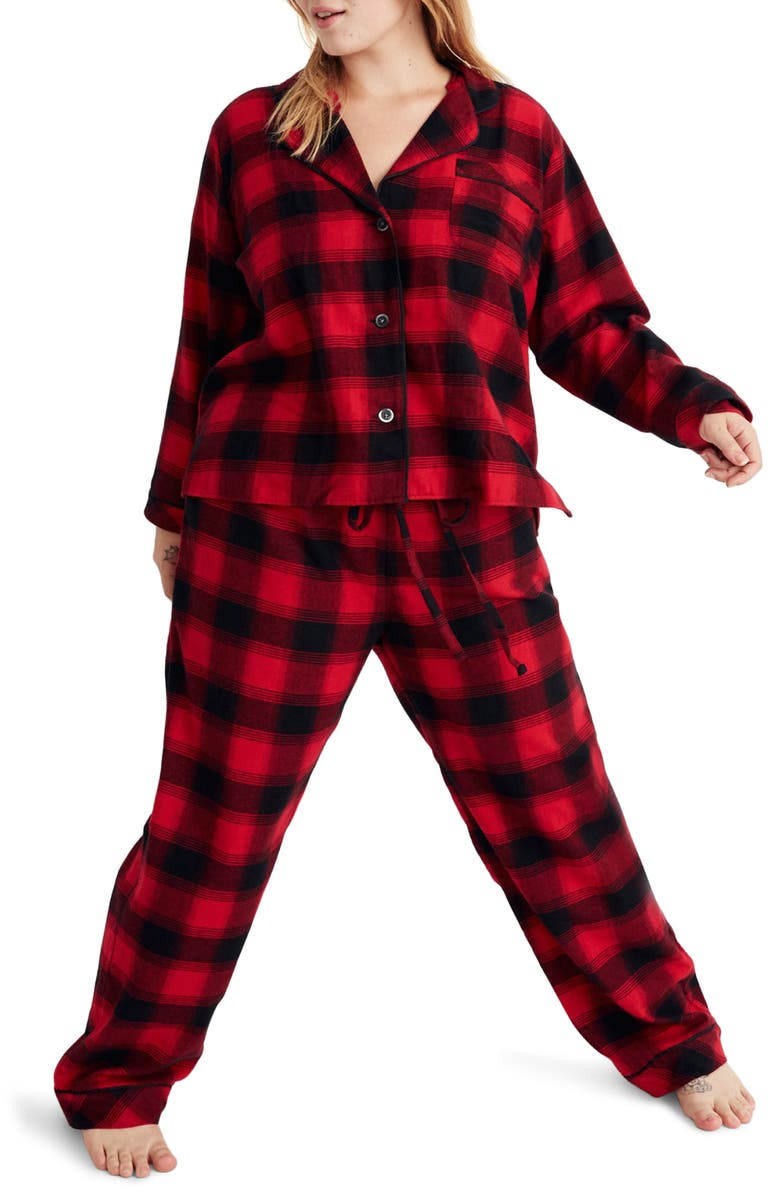 MADEWELL Buffalo Plaid Flannel Bedtime Pajamas, Main, color, 020