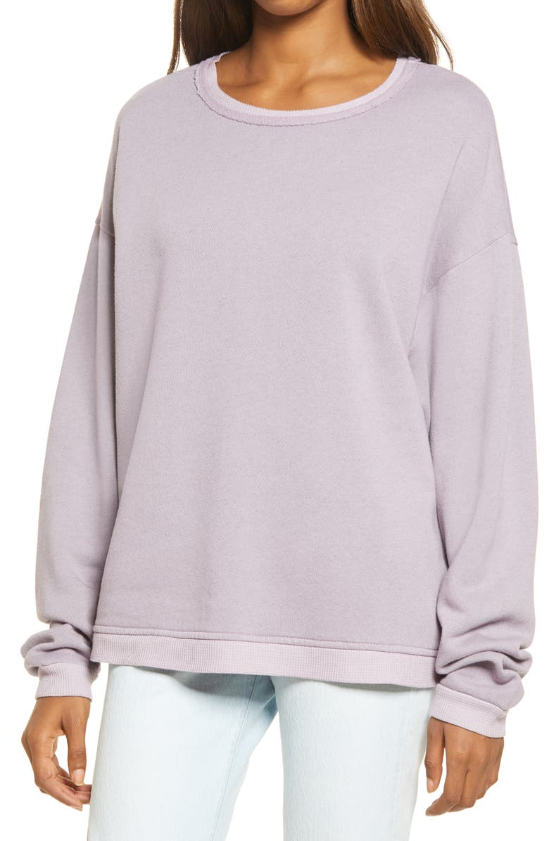 TREASURE & BOND Thermal Edge Sweatshirt, Main, color, PURPLE PEACE
