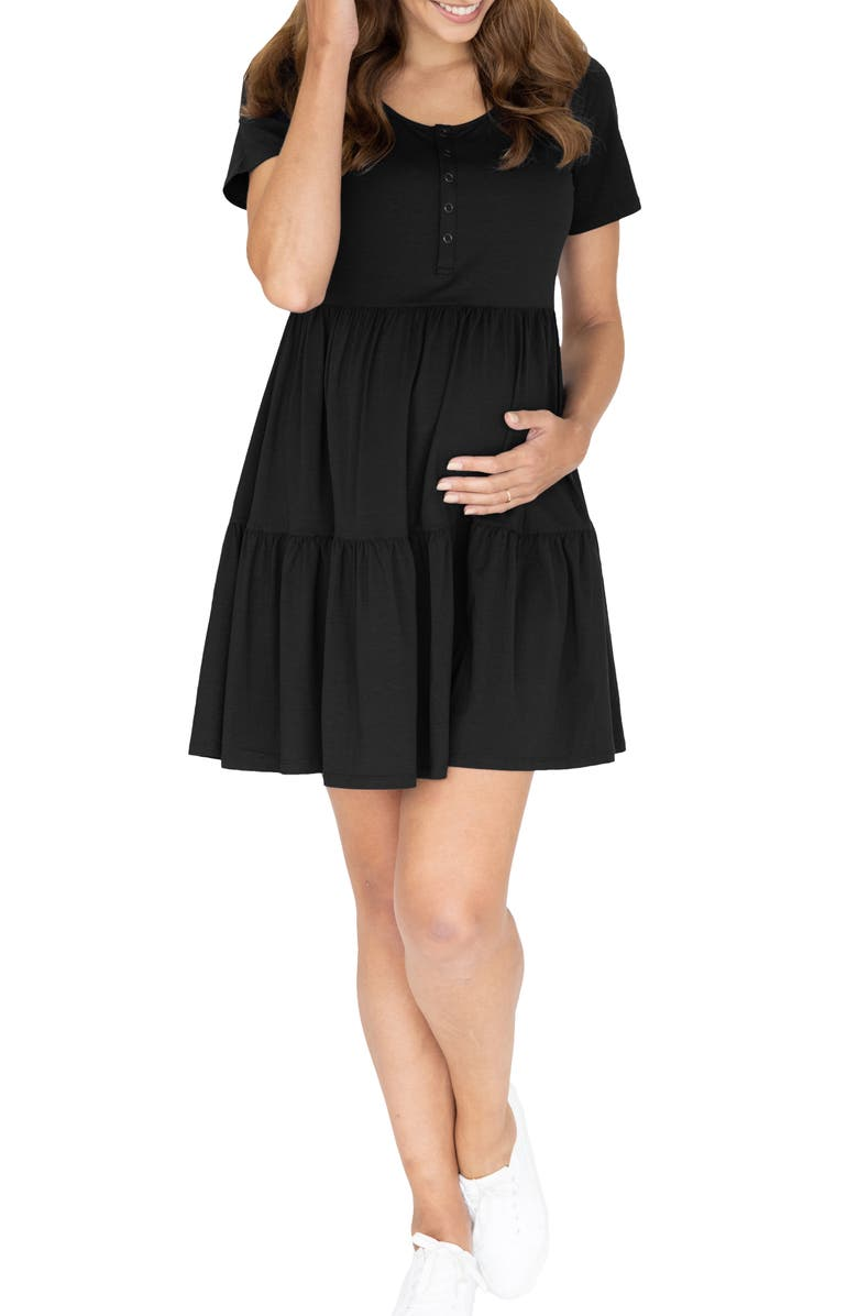 ANGEL MATERNITY Tiered Maternity/Nursing Dress, Main, color, BLACK